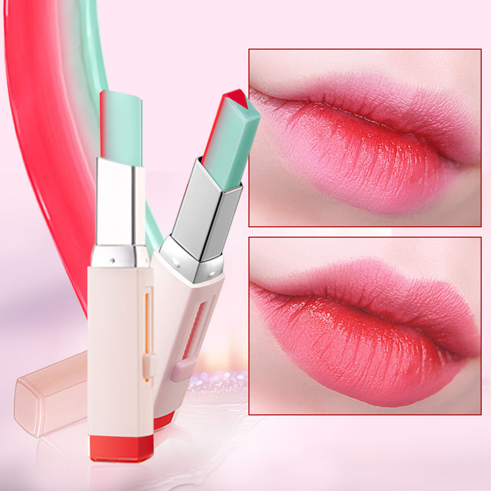 Fashion Korean Nutritious Lipstick V Cutting Two Tone Tint Silky Moisturzing Nourishing Lip Balm Gradient color Lip Cosmetic image