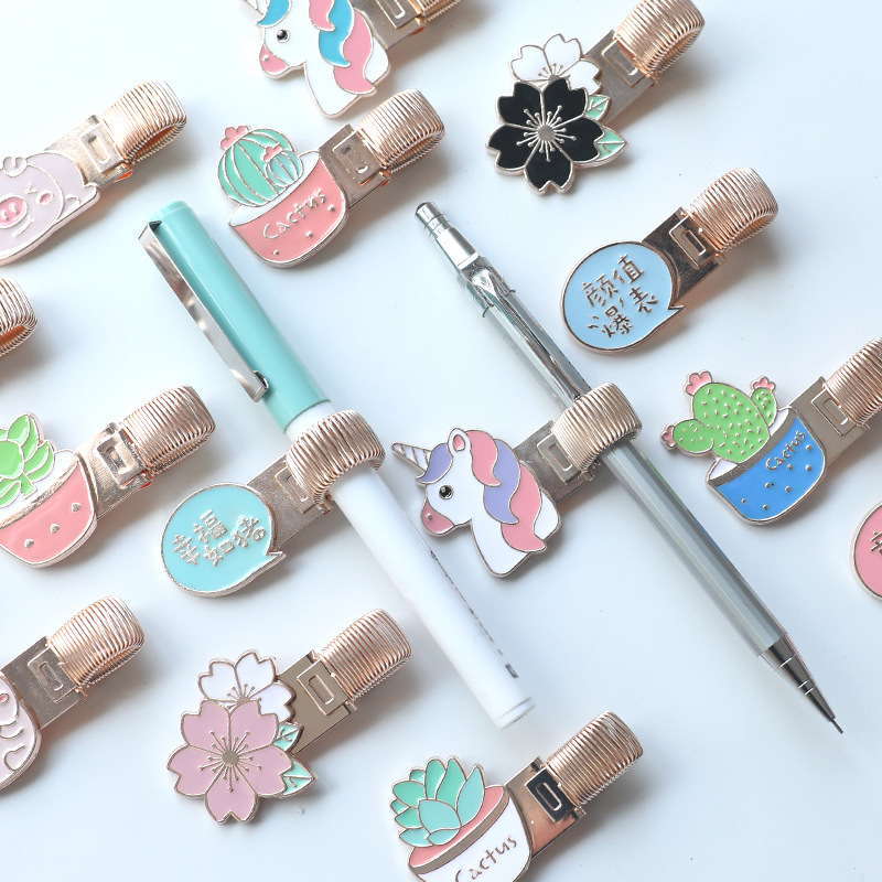 1 Pcs Kawaii Metal Pen Hole Clip Unicorn Pig Cactus Cherry With Pocket Clip Doctors Nurse Uniform Stationery Gifts