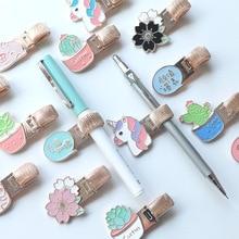 1 Pcs Kawaii Metal Pen Hole Clip Unicorn Pig Cactus Cherry with Pocket Doctors Nurse Uniform Stationery Gifts
