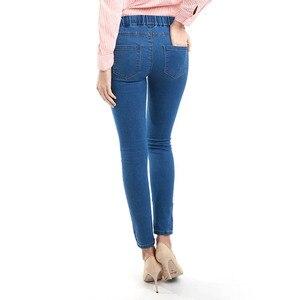 Image 3 - 11.11 סתיו חורף מינימליסטי נשים ג ינס סקיני למתוח מזויף קדמי כיס בינוני מותן שטף כחול Slim אלסטי גברת ג ינס