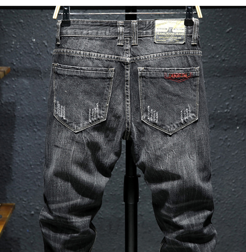 KSTUN Ripped Jeans for Men Slim Fit Stretch Fashion High Street Style Male Denim Pants Frayed