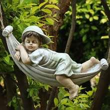 Garden furnishings cartoon characters retro home landscape European-style furnishings creative courtyard hanging basket doll dec