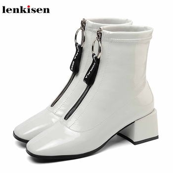 Lenkisen cow patent leather high heels square toe fashion Zipper sweet Korean girl solid winter keep warm women ankle boots L03