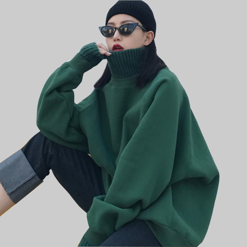 Autumn Women Plus Size Harajuku Green Knitted Sweatshirt Winter Hip Hop Thicken Turtleneck Streetwear Sweatshirt Loose Pullovers