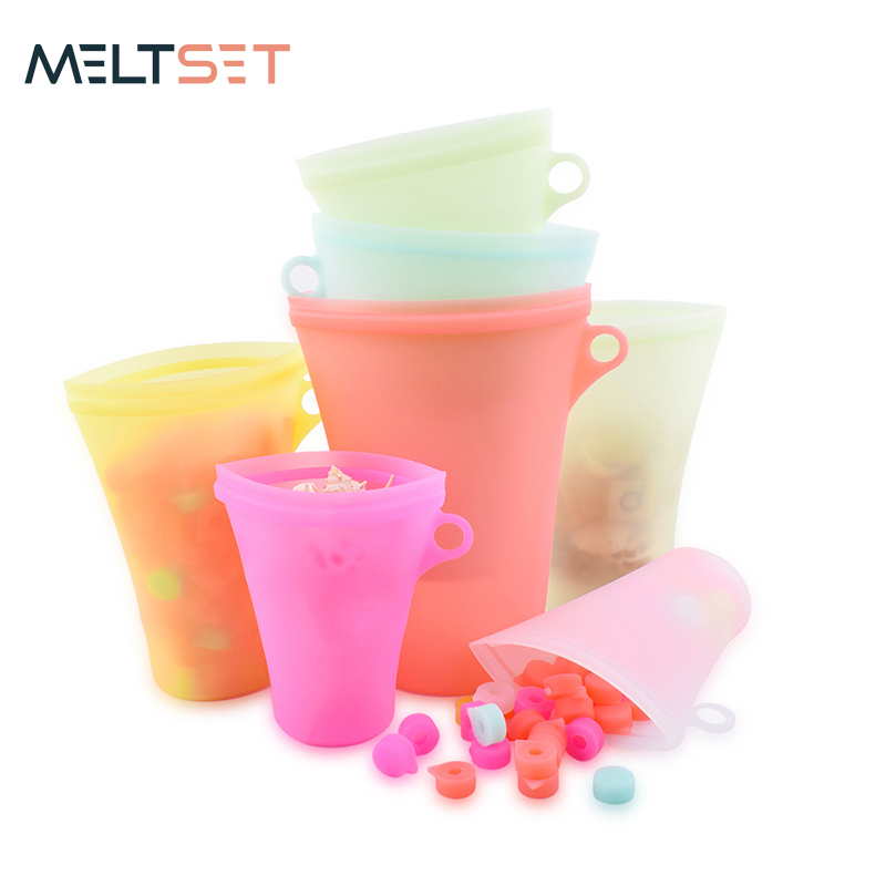 3pcs Silicone Food Bag Reusable Cup Shape Ziplock Bags Food Storage Container Sealed Organizer For Kitchen Fresh Bags Stand Up