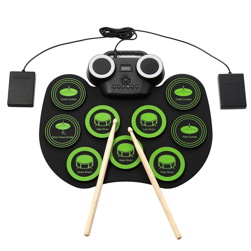 WERSI Silica Gel Electronic Drum Set Roll Up Portable Practice Pad Kit Built-in 2 Effect Pedals Drumsticks for Kids Beginners