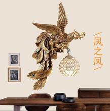American style country resin peacock wall lamp living room bedroom bedside lamp European gold creative crystal wall lamp(China)