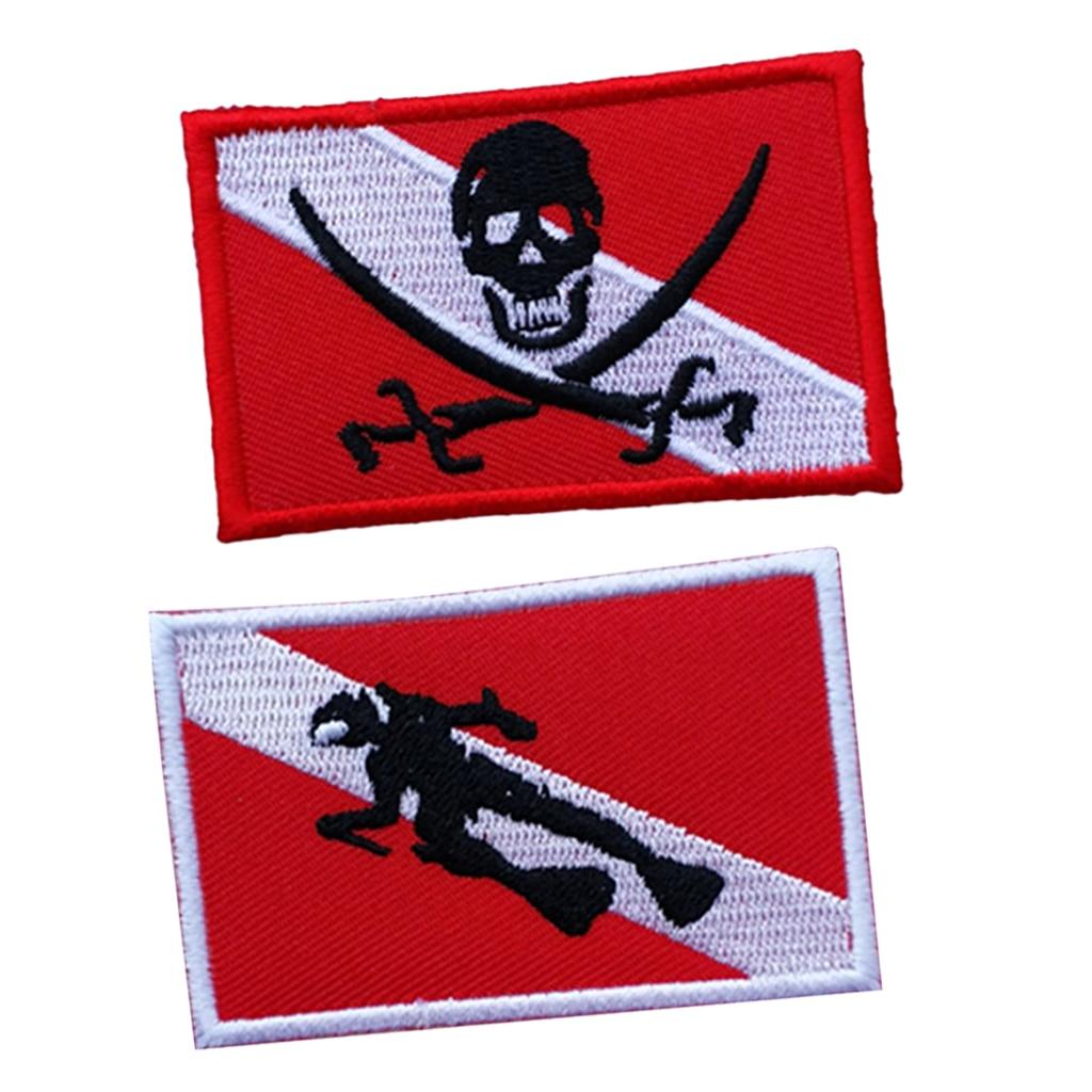2Pcs Scuba Diving Flag Patch Diver Down Flag Badge DIY Gear Accessories - 70 X 45mm