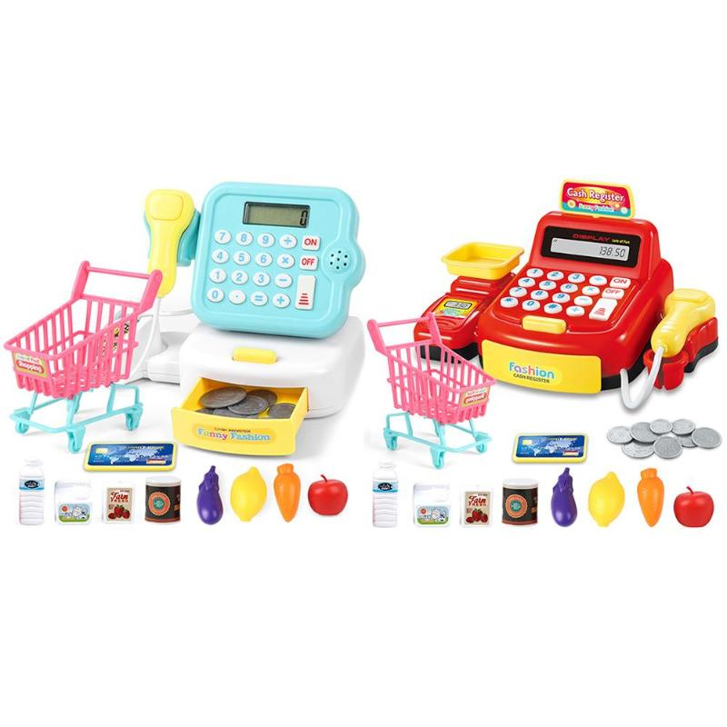 19pcs/set Role Play Simulated Supermarket Many Accessories Bright Colors Lovely Stickers Checkout Counter Cashier Cash Register