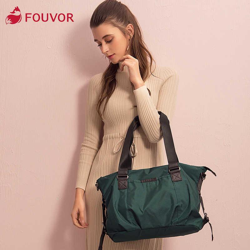 Fouvor bolsa de ombro feminina oxford, bolsa de mão, nylon, grande capacidade, coreana, casual, 2532-04