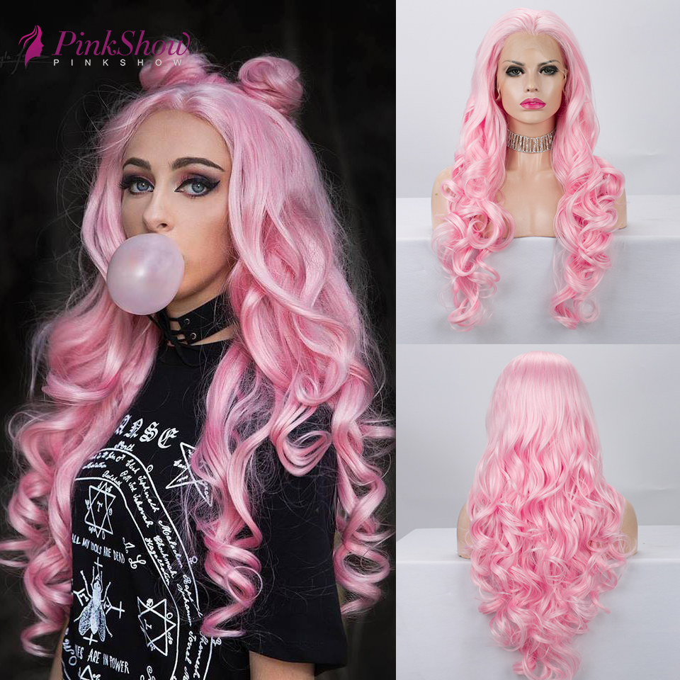 Pinkshow Pink Lace Wigs For Women Long Synthetic Lace Front Wig Wavy Heat Resistant Fiber Glueelss Cosplay Wig 26 inches image