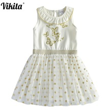 VIKITA Girl Princess Dress New Summer Kid Girls Dress Sleeveless Dresses Kids Party Butterfly Costumes Children Sequins Dresses 2017 summer style girls elsa anna princess dresses girl butterfly printed sleeveless formal girl dresses teenagers party dress