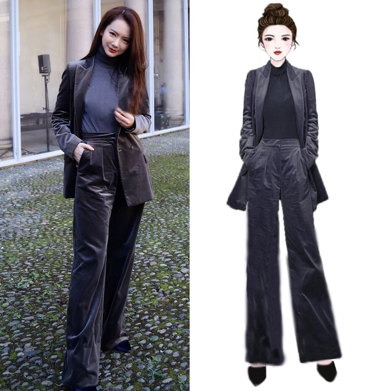 Women's Suit 2 Piece Set Star With Gray Double-breasted Velvet Casual Women's Suit Blazers Trousers Business Professional Suit