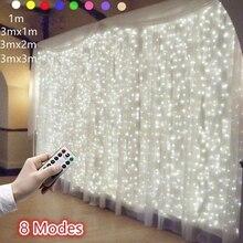 LED 갈 랜드 커튼 문자열 조명 원격 제어 요정 빛 홈 장식 창 웨딩 파티 빛 문자열 led 장식