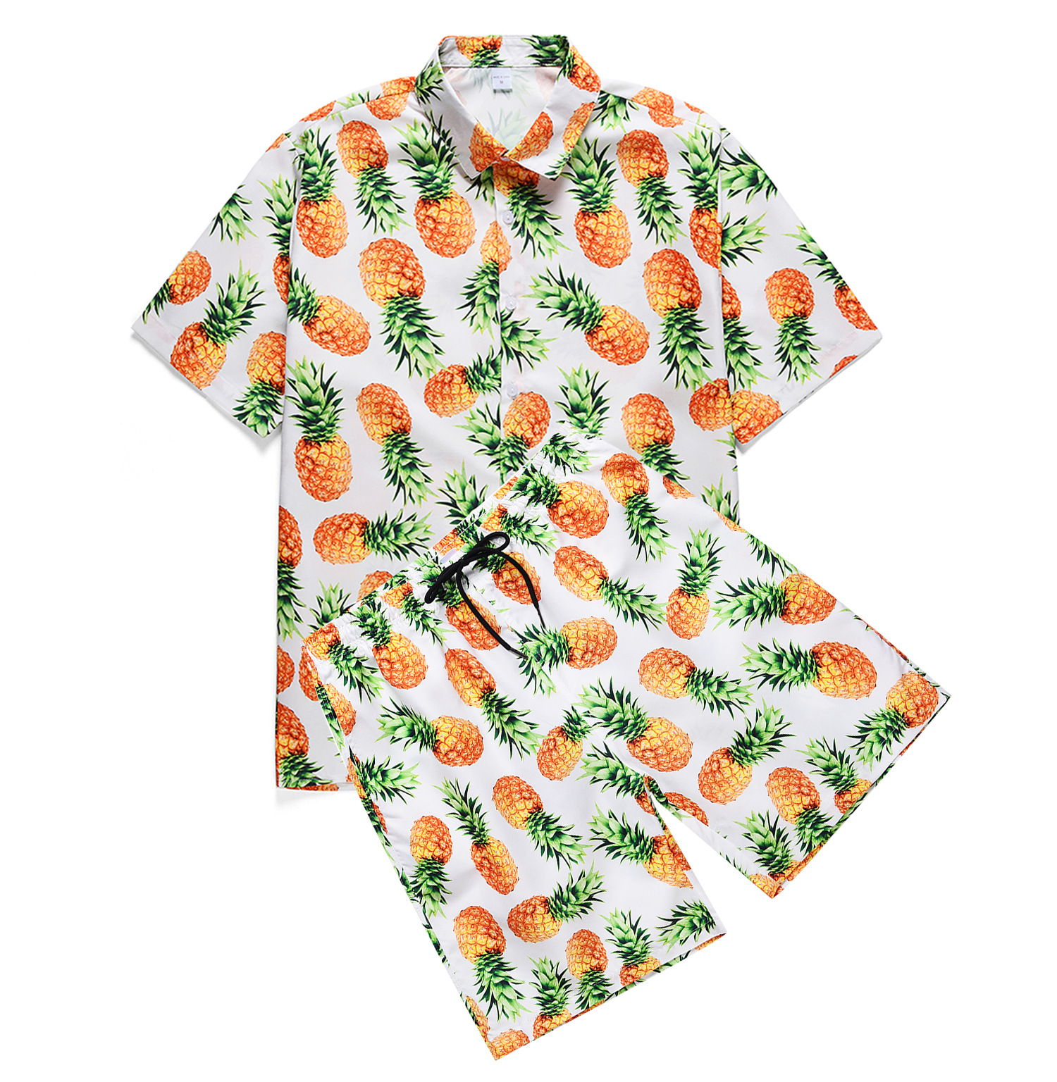 2020 New Men's Fruit Pineapple Print Hawaiian Style Shirt   Elastic Shorts Vacation Two Piece Hawaiian Beach Summer Sets