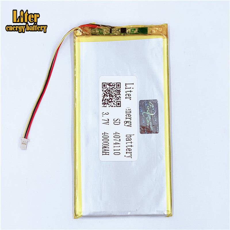 plug 1.0-3P 4074110 4075110 <font><b>3.7V</b></font> <font><b>4000mah</b></font> tablet pc 7 inch MP4 MP5 lipo <font><b>battery</b></font> in rechargeable <font><b>Batteries</b></font> with full capacity image