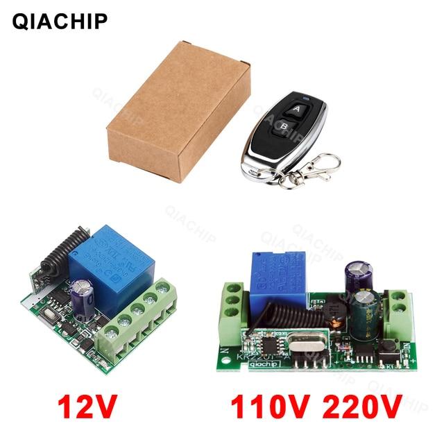 QIACHP 433 Mhz Interruptor de Controle Remoto Sem Fio Universal DC 12 V 1CH Relé Módulo Receptor + Transmissor RF 433 Mhz controles remotos