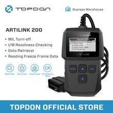 TOPDON ArtiLink 200 Automotive Diagnostic Tool Auto OBDII OBD2 Scanner Mechanic Autoscanner for OBD 2 II Car X431 Creader 3001
