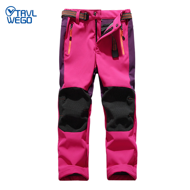 TRVLWEGO Ski Pants Hiking Camping Child Waterproof Breathable Winter Fleece Soft Shell Thick Snow Pants Kids Skiing Trousers