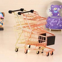 Mini Double Layers Shopping Cart Model Wrought Iron Supermarket Trolley Metal Rose Gold Storage Basket(China)