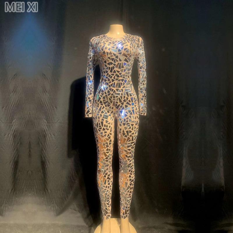 Sparkly Mesh Yarn Silver Lens Jumpsuit Stage Performance Suit Bar Concert DJ Singer/dancer Costume
