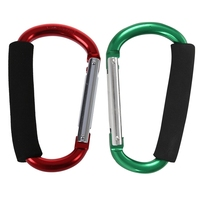 2Pcs Large D Shape Aluminum Alloy Carabiner Soft Handle Shopping Hook Camp Hook Outdoor Key Ring Green   Red & Green|Climbing Accessories| |  -