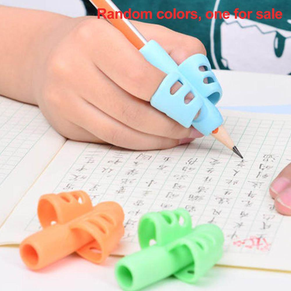 6pcs Kid Pen Pencil Holder Help Learn Writing Tool Baby 3-finger Grip Silicone Correction Tools Practise Device Postures Grip