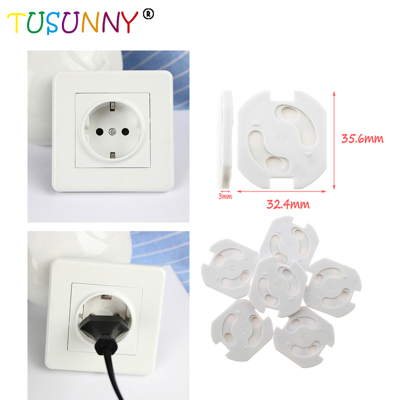 TUSUNNY 10pcs European Standard Baby Safety Rotate Cover Children  Electric Protection Plugs For Socket Security Lock Electrical