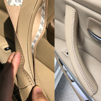 Hand sewing Micro Leather Right /left Door Panel Handle Pull Trim Cover Inner Handle Cover For BMW 3 Series E90 E91 325 330 318 image