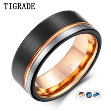 TIGRADE Ring Men Tungsten Black Rose Gold Line Brushed 8mm Wedding Band Engagement Mens Party Jewelry Bague Homme