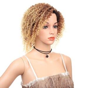 Image 3 - 12 inç kısa peruk sentetik saç siyah kadınlar için Afro Kinky kıvırcık Ombre kahverengi Cosplay peruk yüksek sıcaklık Fiber saç expo şehir