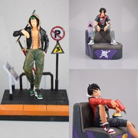 Anime One Piece Monkey D Luffy Roronoa Zoro Portgas D Ace PVC Action Figure Collectible Model doll toy 17~28cm