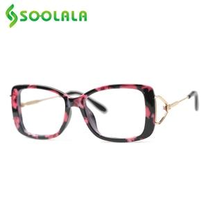 Image 2 - SOOLALA مربع نظارات للقراءة إمرأة رجل كبير إطار نظارات الموضة إطار مكبرة قصر النظر الشيخوخي نظارات + 0.5 إلى 4.0
