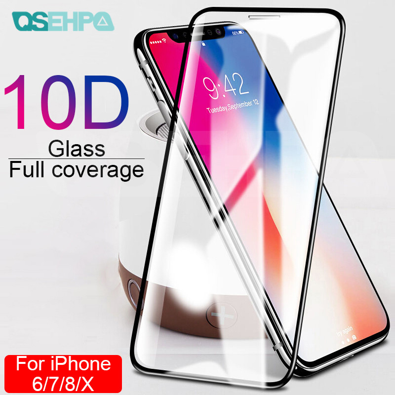10D Curved Edge Full Cover Tempered Glass on the For iPhone X XR XS Max Screen Protective Glass For iPhone 7 8 6 6S Plus Film-in Phone Screen Protectors from Cellphones & Telecommunications