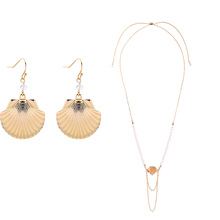 Gold Color Initial Shell Drop Earrings Glass Beads Imitation Pearls Necklaces For Women New Fashion Jewelry Sets Drop shipping imitation pearls choker necklace female cross chain beads pendant necklaces for women gold color 2019 fashion coin jewelry
