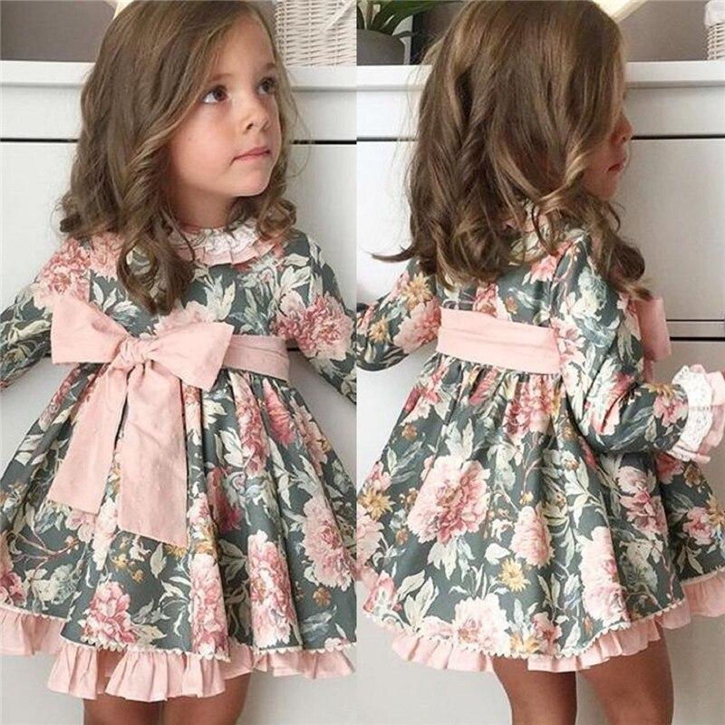 2019 yeni sonbahar yenidoğan çiçek elbise sevimli bebek bebek giysileri elbise kız giyim prenses parti noel elbiseler