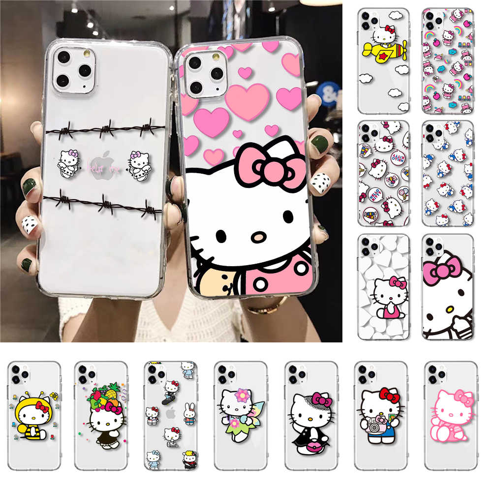 HTXiancartoon hello Kitty funda de teléfono para iPhone XR 11 Pro Max XS MAX 8 7 6 6S Plus X 5 5S SE