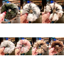 1PC Hair Accessorie New Women Winter Colorful Soft Plush Elastic Head Rope Ponytail Holder Sweet Fashion