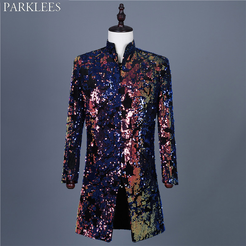 Colorful Embellished Sequin Blazer Jacket Men Stand Collar Mens Long Jackets And Coat Glitter Party Singer Stage Costume Homme