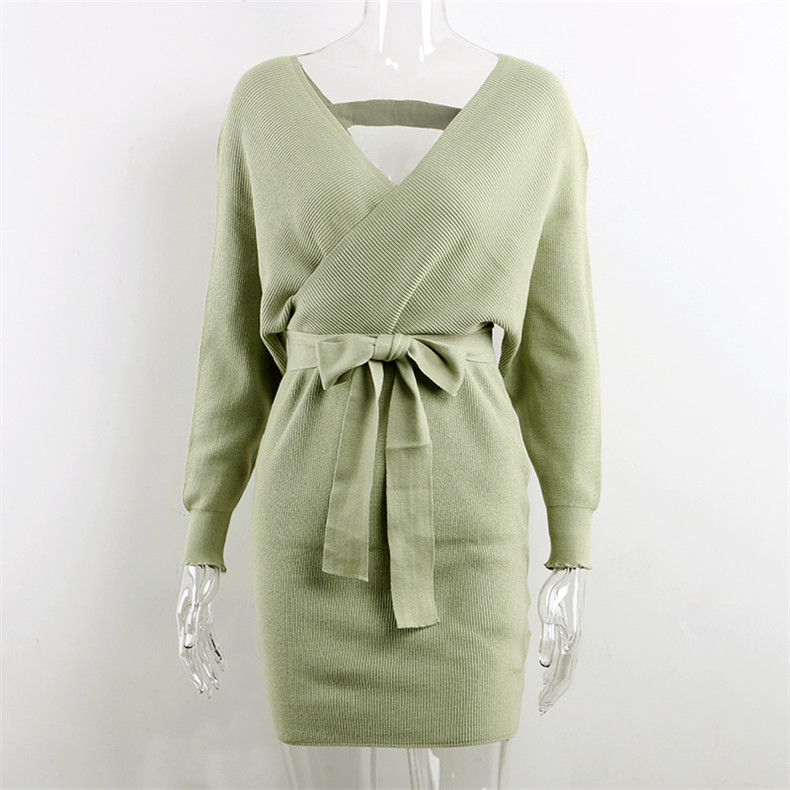 Long Sleeve Sashes Tied Knitted Wrap Sweater Dress 11