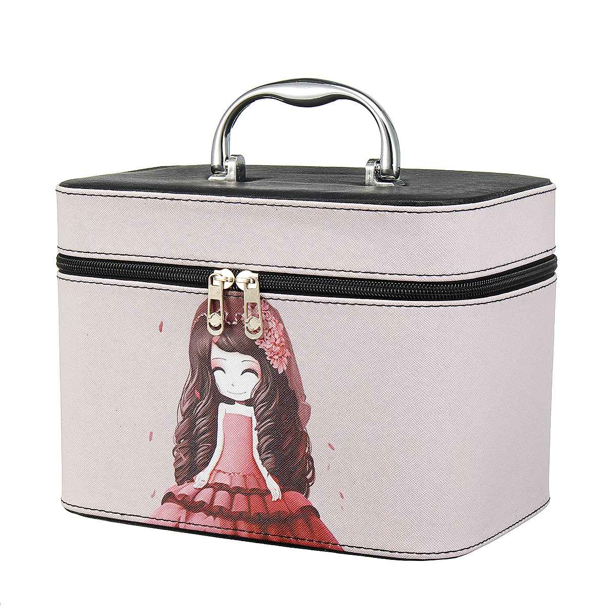 Professional Large Capacity Cosmetic Bag PU Leather Makeup Box Travel Organizer For Cosmetics Fashion Toiletry Bags Suitcases