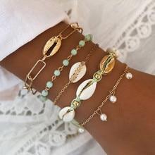 Pulseras y brazaletes de tejido hecho a mano DIEZI bohemios Vintage exageración pulsera de perlas de concha de cadena de oro para niñas joyería de mujer