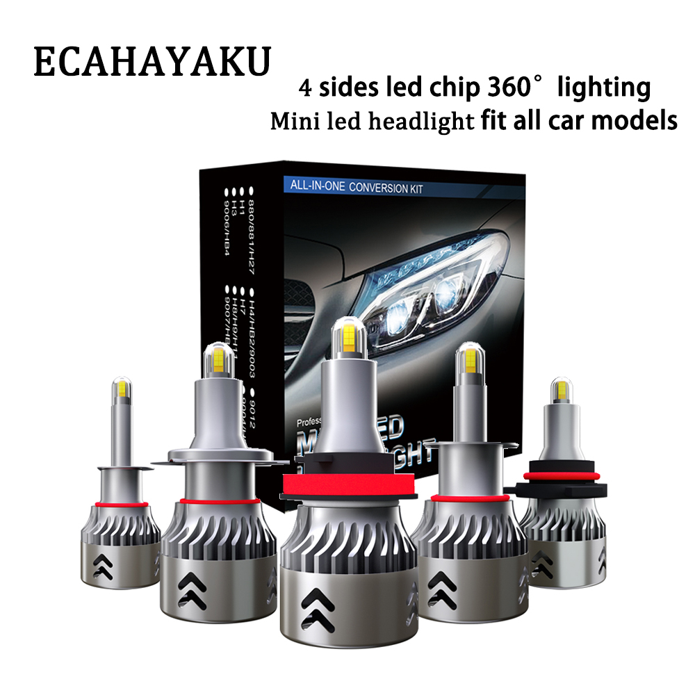 ECAHAYAKU <font><b>LED</b></font> Headlight Bulbs <font><b>360</b></font> H1 <font><b>LED</b></font> H11 H8 <font><b>H9</b></font> 9005 9006 HB3 HB4 6000K 4 sides <font><b>led</b></font> Auto offroad Lamp Turbo H7 <font><b>LED</b></font> Light Car image
