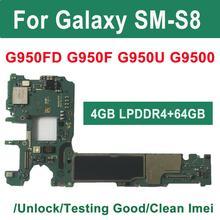 Binyeae original 64gb placa mãe para samsung galaxy s8 g950f g950fd g950u principal placa mãe desbloqueado imei knox 0*0