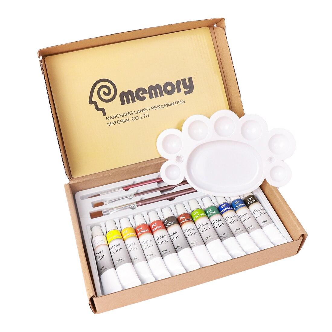 Memória 12 cores de vidro acrílico tintas definir arte pintura pigmentos kit para vidro-incluem 3 escovas e 1 paleta