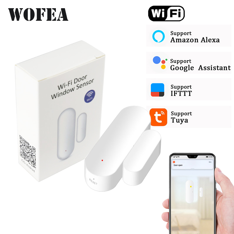 Купить со скидкой Wofea Door Window magnetic sensor WiFi App Alerts Battery Operated Home Security detector tuya suppo