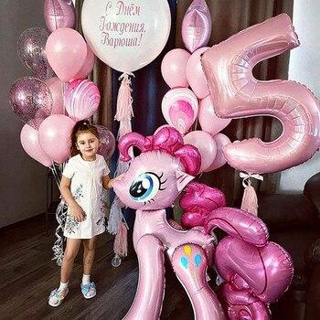 1PC 100*97CM Pink Horse Little Pony Unicorn Foil Balloons Helium Balloon Kids Toys Wedding Birthday Animal Party Decor Supplies 1