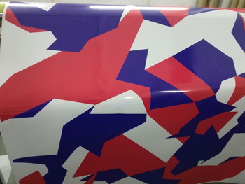 Premium Graphic Arctic Blue White Red Camouflage Vinyl Film Car Wrap Foil DIY Styling Sticker Wrapping With Air Release фото