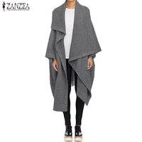 2019 ZANZEA Winter Long Trench Coats Women Waterfall Jackets Cardigan Loose Lapel Neck Wool Cape Poncho Femininas Solid Outwear