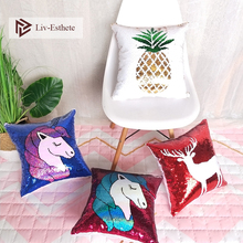 Liv-Esthete Fashion Sequin Cushion Cover Decorative Cushion Luxury Square Pillow Cover For Sofa Bed Car Home 45x45cm Gift home decorative embroidered cushion cover black white canvas cotton square embroidery pillow cover 45x45cm for sofa living room